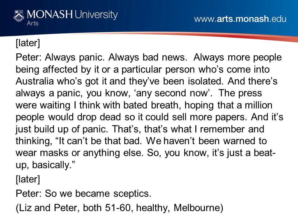 [later] Peter: Always panic. Always bad news.