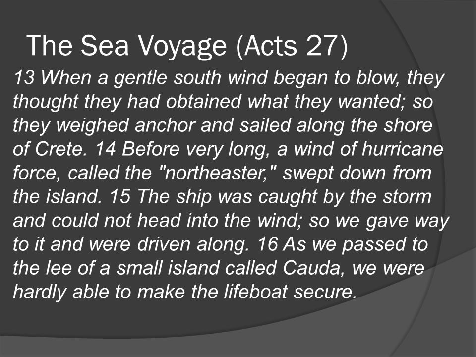 The Sea Voyage (Acts 27) 13 When a gentle south wind began to blow, they thought they had obtained what they wanted; so they weighed anchor and sailed along the shore of Crete.