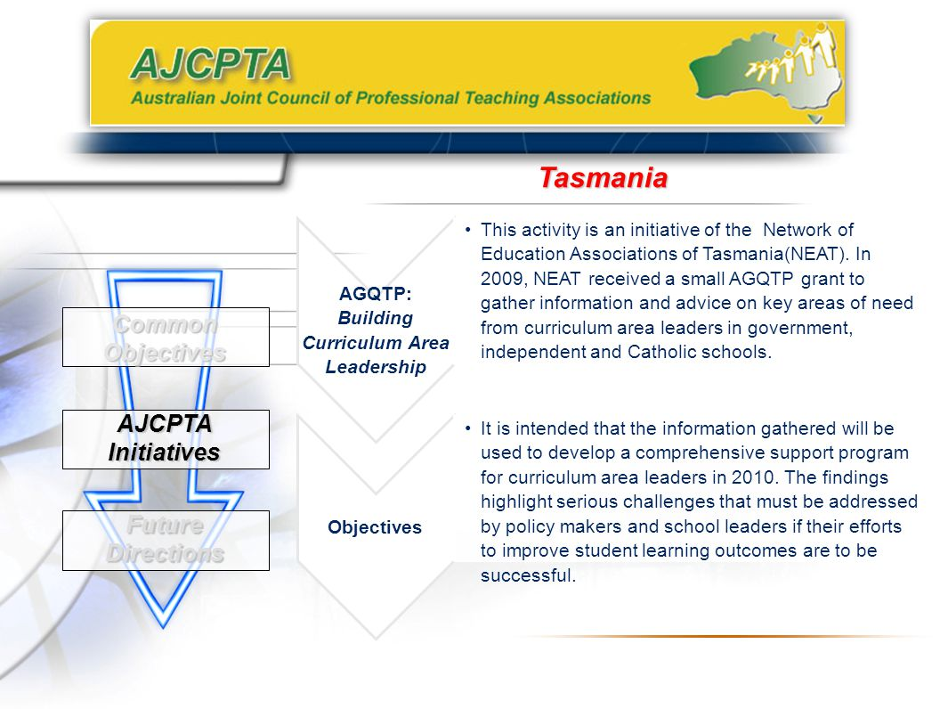Common Objectives AJCPTA Initiatives Future Directions Tasmania AGQTP: Building Curriculum Area Leadership This activity is an initiative of the Network of Education Associations of Tasmania(NEAT).
