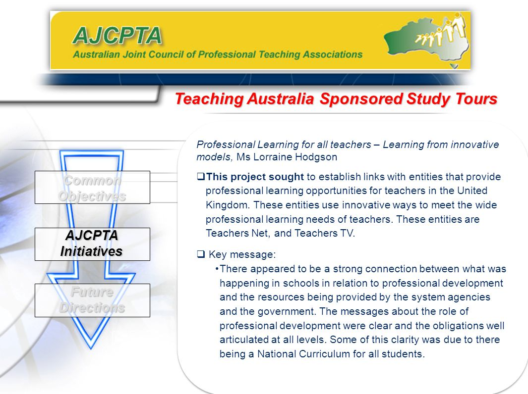 Common Objectives AJCPTA Initiatives Future Directions Teaching Australia Sponsored Study Tours Professional Learning for all teachers – Learning from innovative models, Ms Lorraine Hodgson  This project sought to establish links with entities that provide professional learning opportunities for teachers in the United Kingdom.