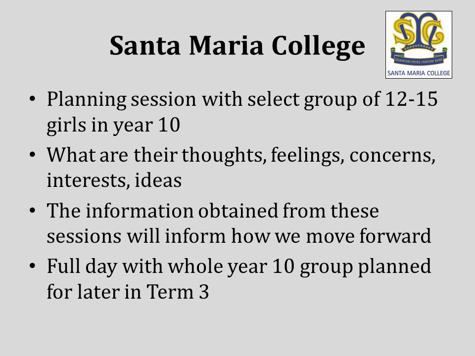 Planning session with select group of 12-15 girls in year 10 What are their thoughts, feelings, concerns, interests, ideas The information obtained from these sessions will inform how we move forward Full day with whole year 10 group planned for later in Term 3 Santa Maria College