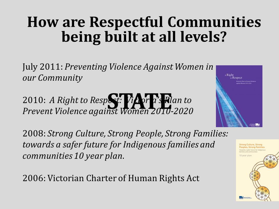 STATE How are Respectful Communities being built at all levels.