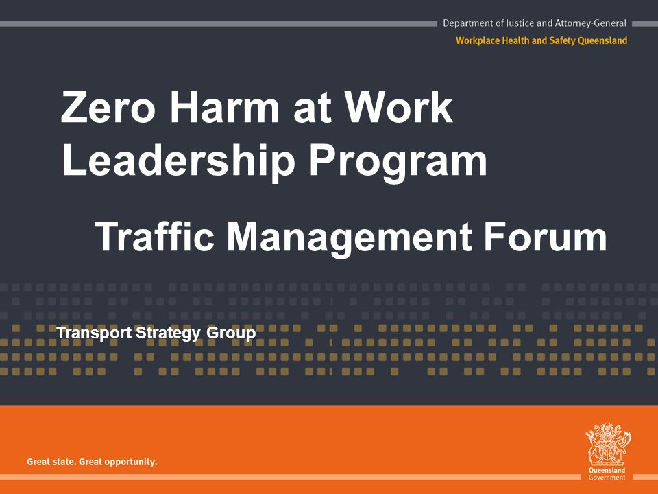 Zero Harm at Work Leadership Program Traffic Management Forum Transport Strategy Group