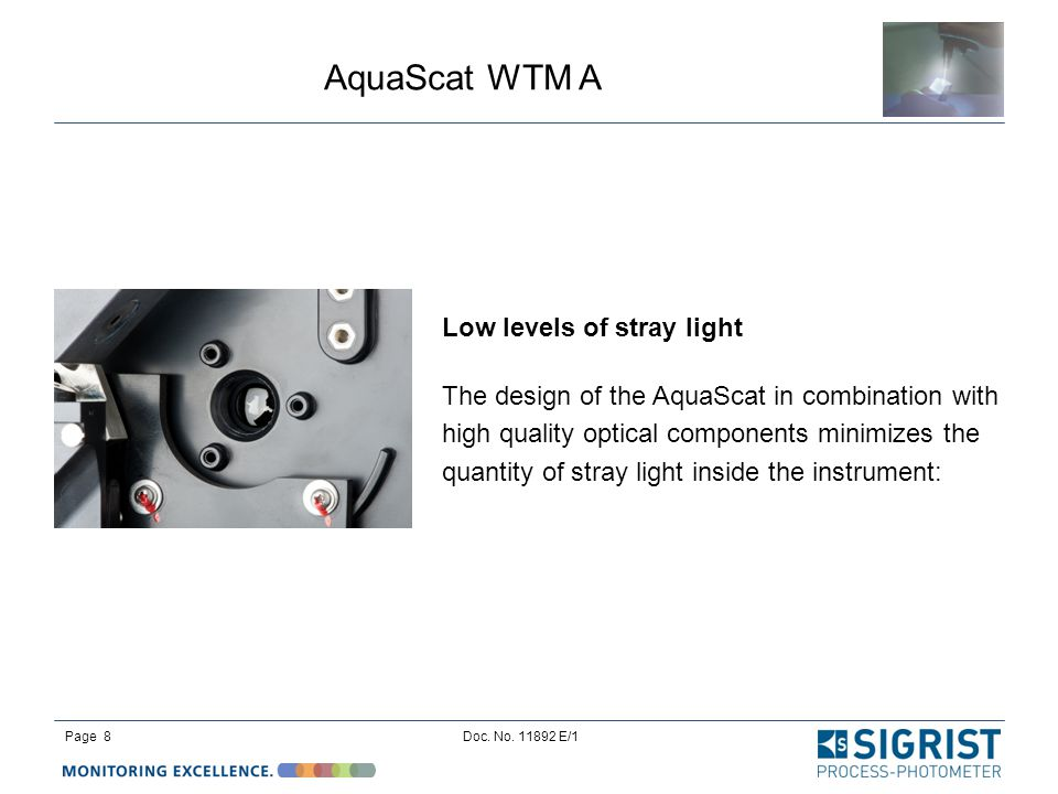 AquaScat WTM A Page 8Doc. No. 11892 E/1 Low levels of stray light The design of the AquaScat in combination with high quality optical components minim