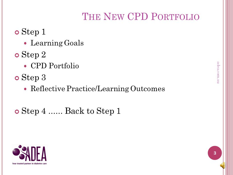 T HE N EW CPD P ORTFOLIO Introducing the new CPD Portfolio Use of the new Templates Available for use July 2014 Optional until January 2015 2 adea.com.au