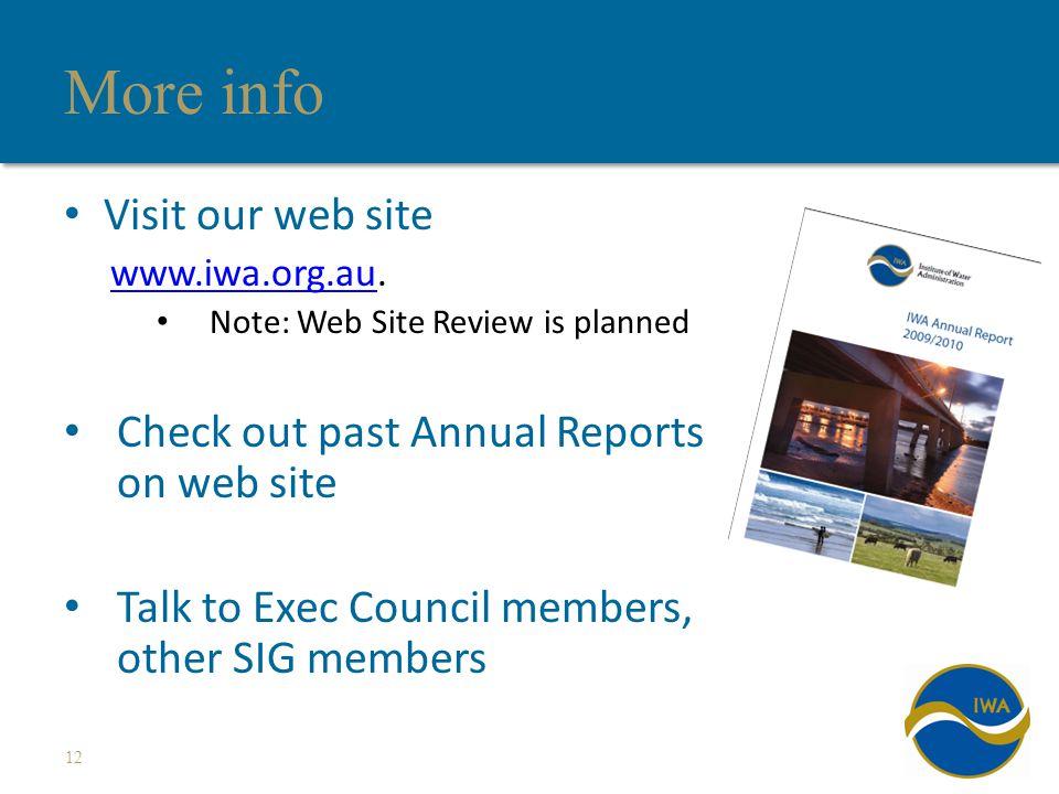 More info Visit our web site www.iwa.org.auwww.iwa.org.au.