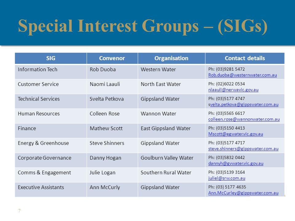 Special Interest Groups – (SIGs) 7 SIGConvenorOrganisationContact details Information TechRob DuobaWestern Water Ph: (03)9281 5472 Rob.duoba@westernwater.com.au Customer ServiceNaomi LaauliNorth East Water Ph: (02)6022 0534 nlaauli@nerwavic.gov.au Technical ServicesSvelta PetkovaGippsland Water Ph: (03)5177 4747 svelta.petkova@gippswater.com.auvelta.petkova@gippswater.com.au Human ResourcesColleen RoseWannon Water Ph: (03)5565 6617 colleen.rose@wannonwater.com.au FinanceMathew ScottEast Gippsland Water Ph: (03)5150 4413 Mscott@egwater.vic.gov.au Energy & GreenhouseSteve ShinnersGippsland Water Ph: (03)5177 4717 steve.shinners@gippswater.com.au Corporate GovernanceDanny HoganGoulburn Valley Water Ph: (03)5832 0442 dannyh@gvwater.vic.gov.au Comms & EngagementJulie LoganSouthern Rural Water Ph: (03)5139 3164 juliel@srw.com.au Executive AssistantsAnn McCurlyGippsland Water Ph: (03) 5177 4635 Ann.McCurley@gippswater.com.au