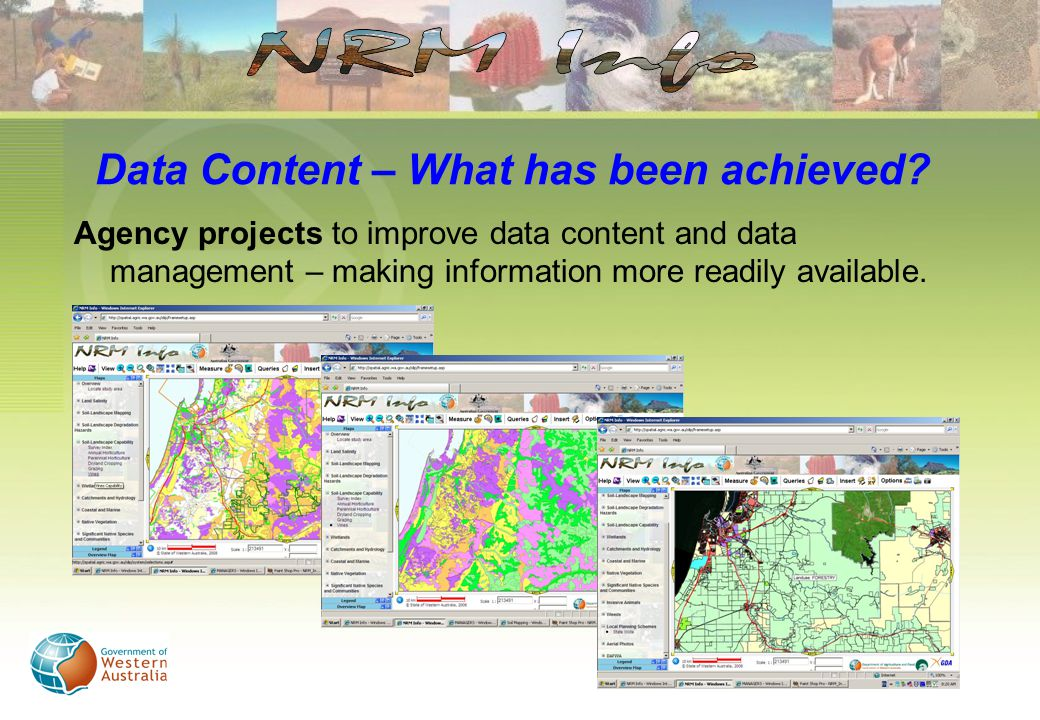 Agency projects to improve data content and data management – making information more readily available.
