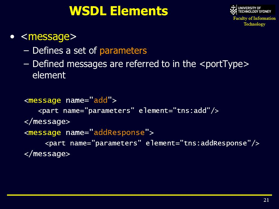 Faculty of Information Technology 21 WSDL Elements –Defines a set of parameters –Defined messages are referred to in the element