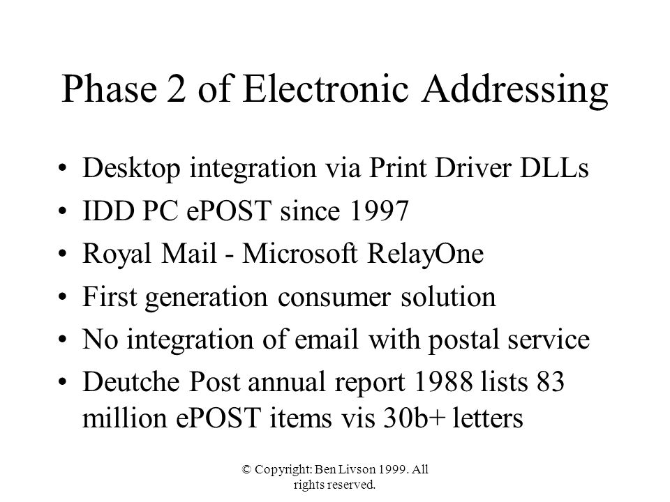 © Copyright: Ben Livson 1999. All rights reserved. Phase 2 of Electronic Addressing Desktop integration via Print Driver DLLs IDD PC ePOST since 1997