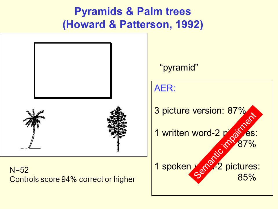 Pyramids & Palm trees (Howard & Patterson, 1992) pyramid pyramid AER: 3 picture version: 87% 1 written word-2 pictures: 87% 1 spoken word-2 pictures: 85% N=52 Controls score 94% correct or higher Semantic impairment