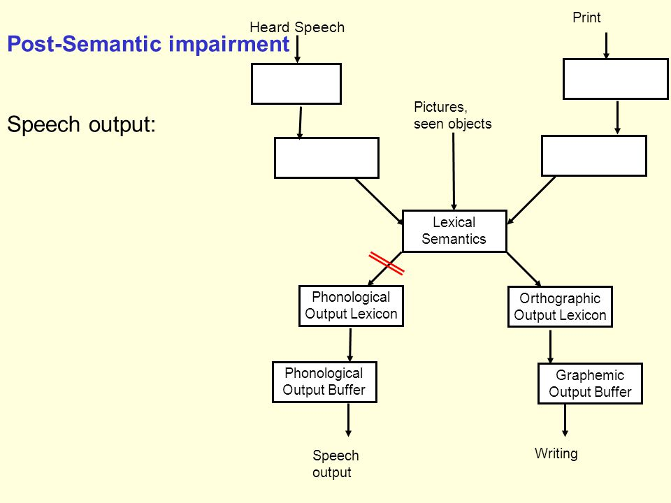 Phonological Output Lexicon Speech output Phonological Output Buffer Lexical Semantics Orthographic Output Lexicon Graphemic Output Buffer Writing Heard Speech Print Pictures, seen objects Post-Semantic impairment Speech output: