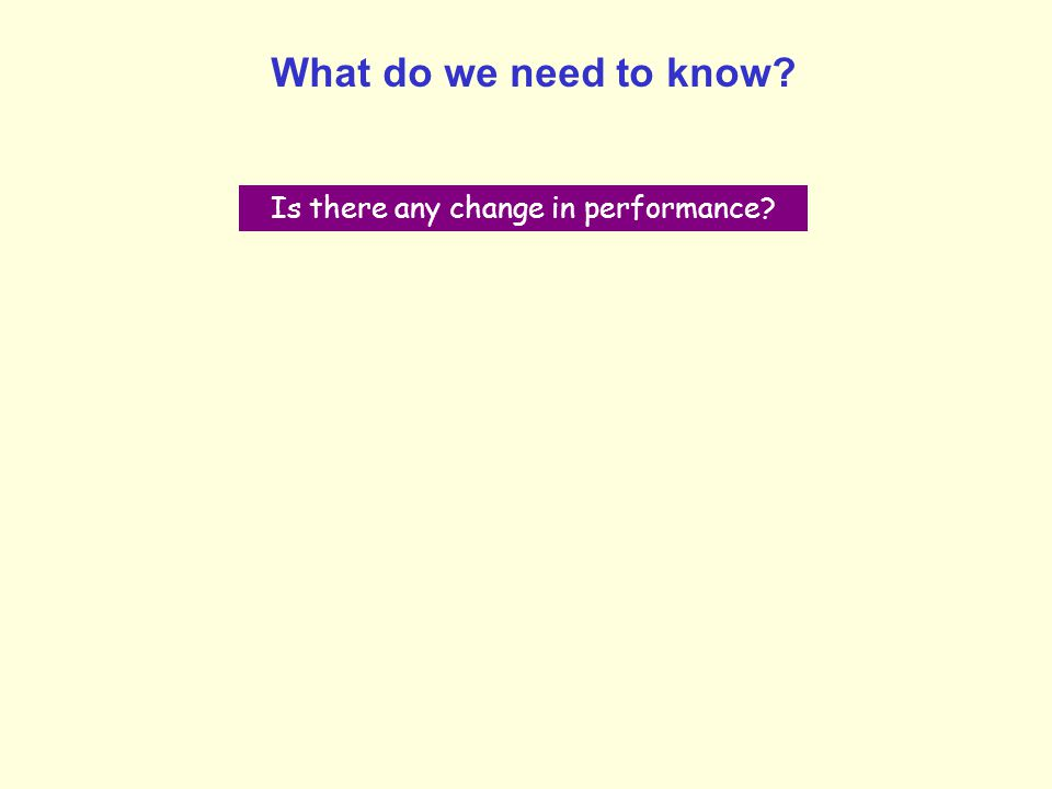 What do we need to know? Is there any change in performance?