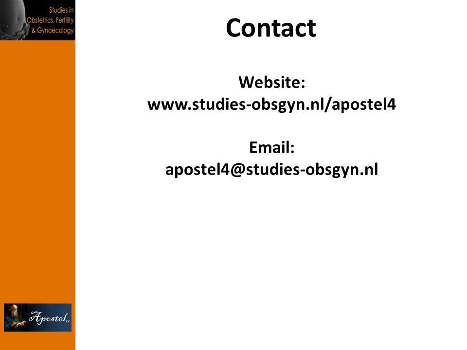 Contact Website: www.studies-obsgyn.nl/apostel4 Email: apostel4@studies-obsgyn.nl