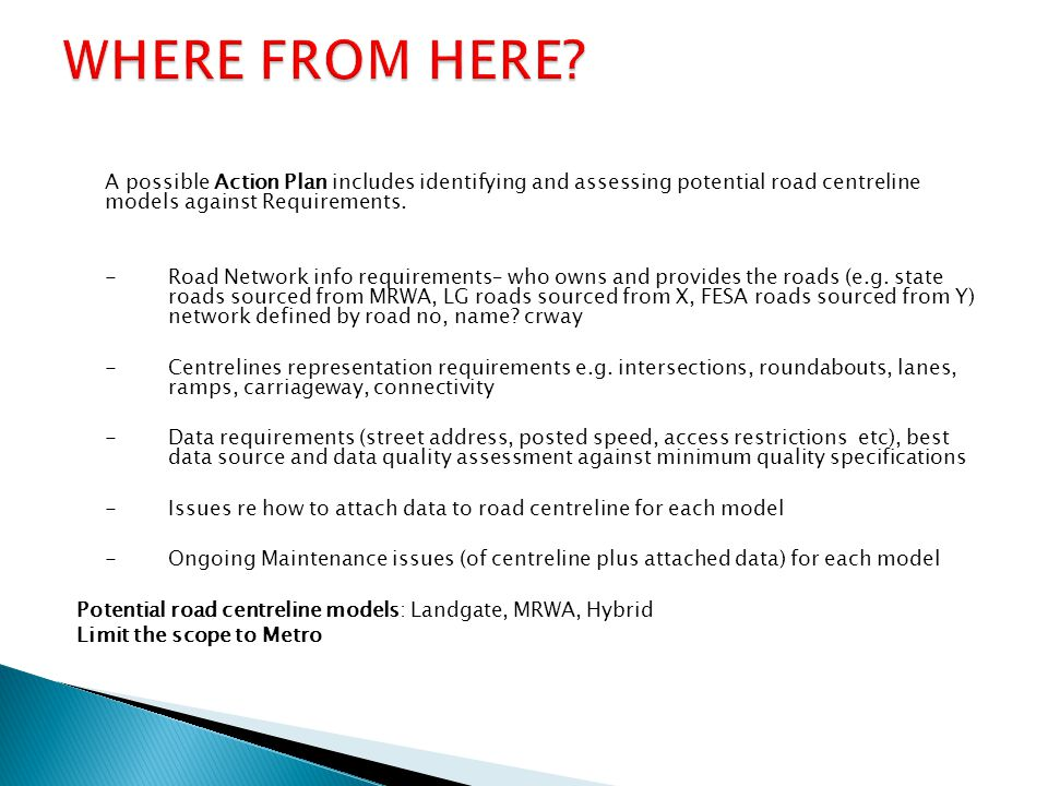 A possible Action Plan includes identifying and assessing potential road centreline models against Requirements. -Road Network info requirements– who