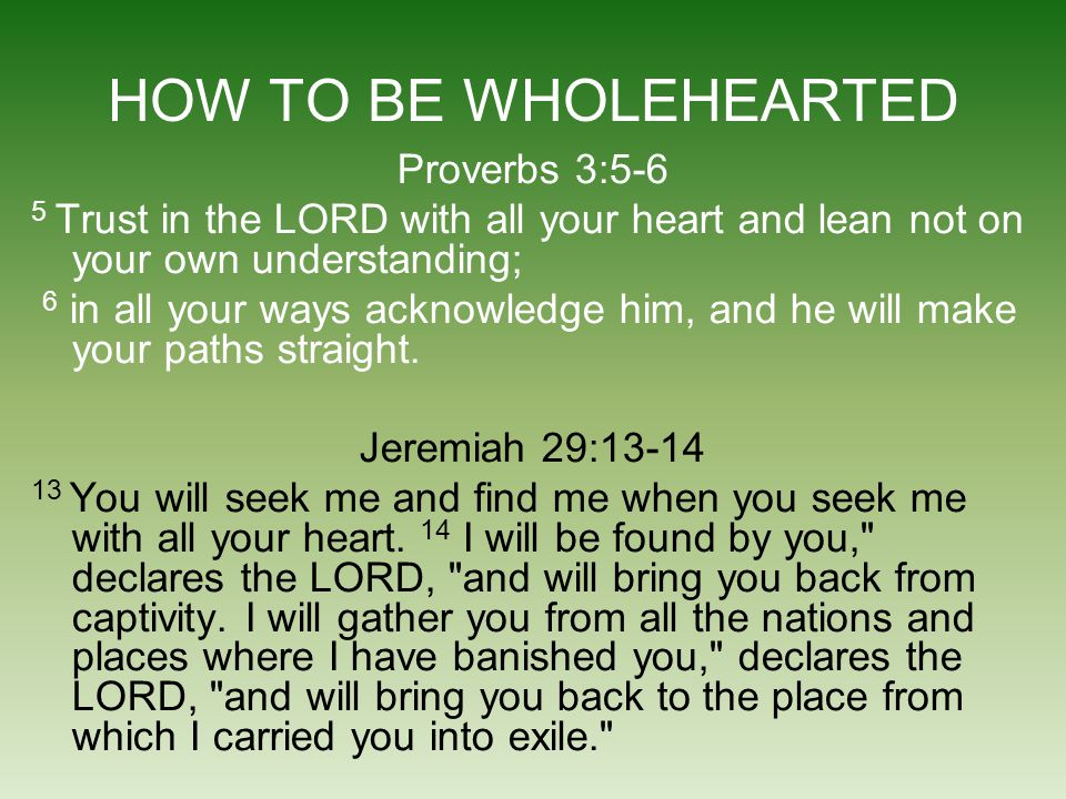 HOW TO BE WHOLEHEARTED Proverbs 3:5-6 5 Trust in the LORD with all your heart and lean not on your own understanding; 6 in all your ways acknowledge h