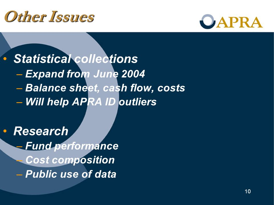 10 Statistical collections –Expand from June 2004 –Balance sheet, cash flow, costs –Will help APRA ID outliers Research –Fund performance –Cost composition –Public use of data Other Issues
