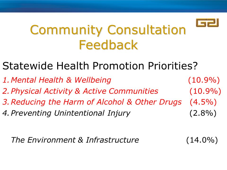 Community Consultation Feedback Statewide Health Promotion Priorities.