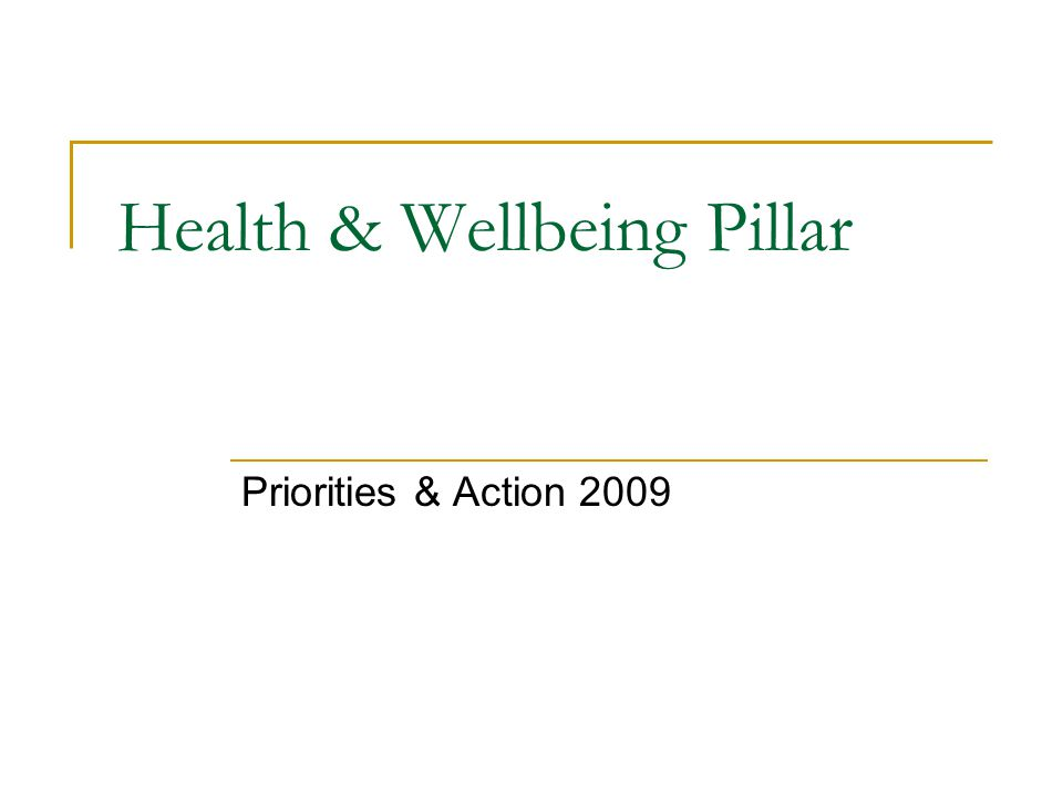 Presentation Overview of Pillar projects and action areas  Nine project areas – three themes Closer view of top three priority areas of need  Early Years, Addressing Disadvantage & Social Inclusion  Health Workforce & Infrastructure  Health & Wellbeing Partnerships Supporting evidence  Levels of disadvantage  Major growing gap in available health workforce  Growth and dependency on Partnerships as new social infrastructure Taking a longer term view – examples