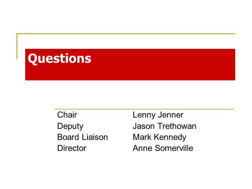 Chair Lenny Jenner Deputy Jason Trethowan Board LiaisonMark Kennedy DirectorAnne Somerville Questions
