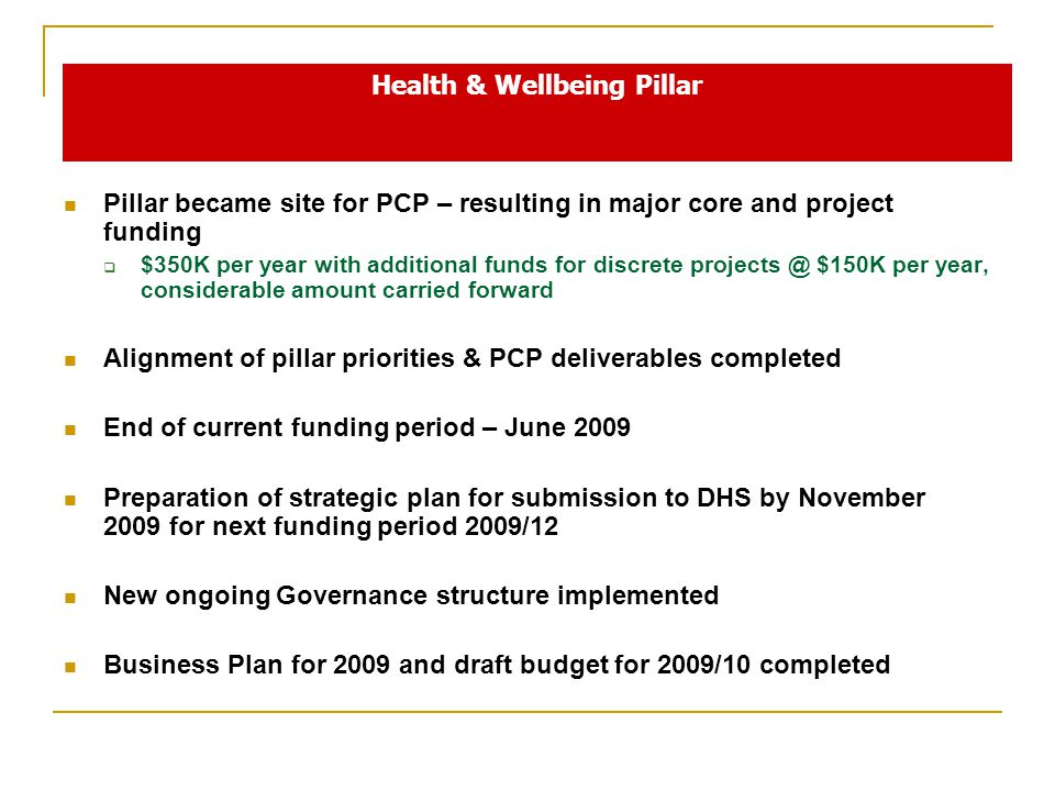 Pillar became site for PCP – resulting in major core and project funding  $350K per year with additional funds for discrete $150K per year, considerable amount carried forward Alignment of pillar priorities & PCP deliverables completed End of current funding period – June 2009 Preparation of strategic plan for submission to DHS by November 2009 for next funding period 2009/12 New ongoing Governance structure implemented Business Plan for 2009 and draft budget for 2009/10 completed Health & Wellbeing Pillar