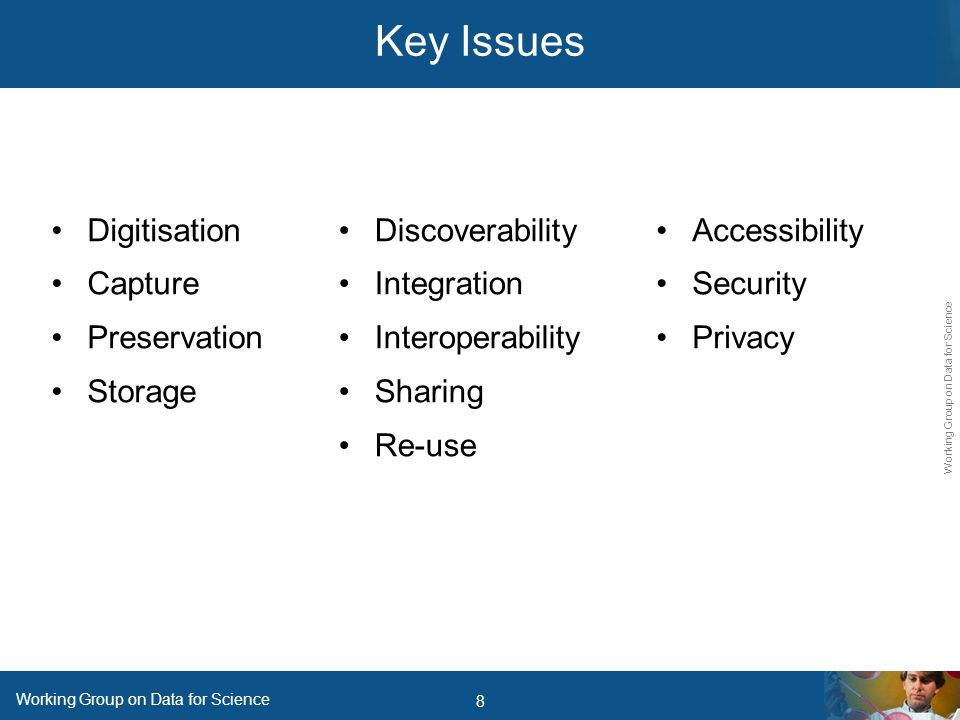 8 Working Group on Data for Science Key Issues Digitisation Capture Preservation Storage Accessibility Security Privacy Discoverability Integration Interoperability Sharing Re-use