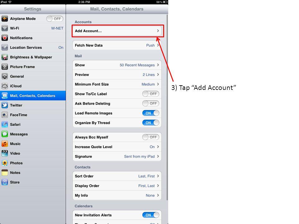 3) Tap Add Account