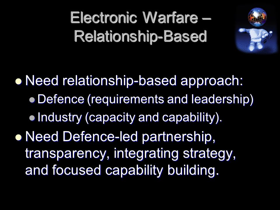 Electronic Warfare – Relationship-Based Need relationship-based approach: Need relationship-based approach: Defence (requirements and leadership) Defence (requirements and leadership) Industry (capacity and capability).