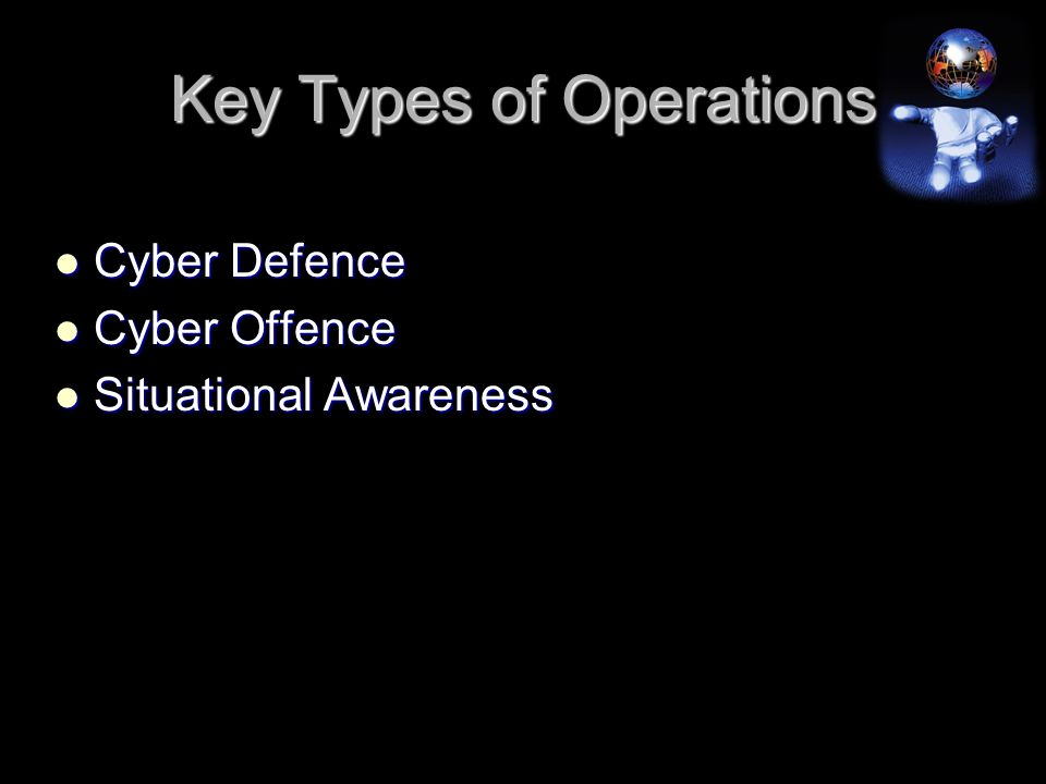 Key Types of Operations Cyber Defence Cyber Defence Cyber Offence Cyber Offence Situational Awareness Situational Awareness