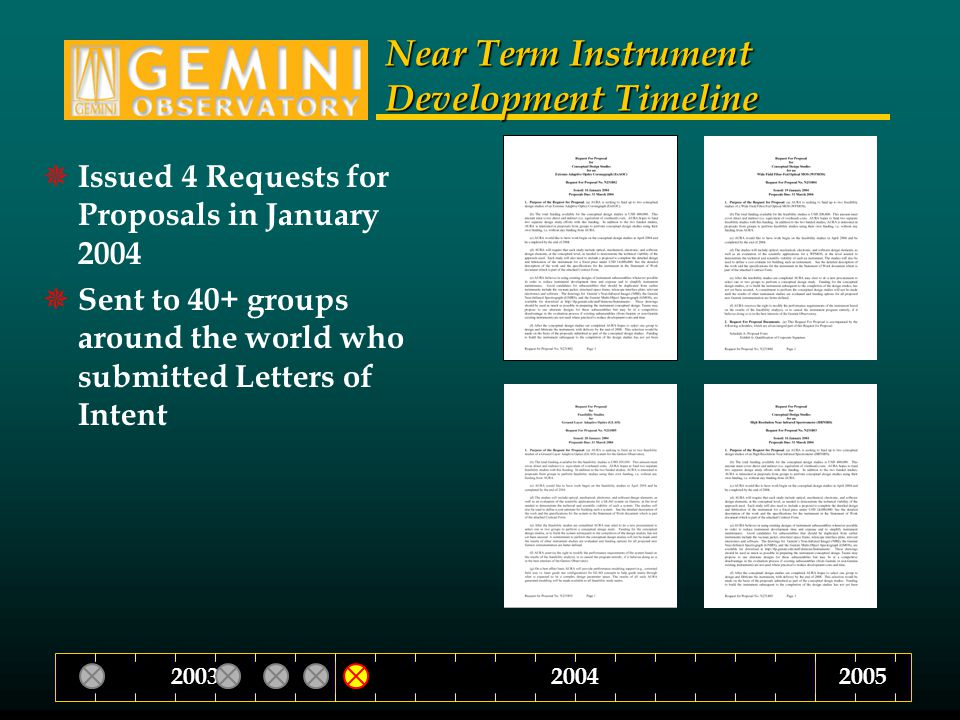 Near Term Instrument Development Timeline  Issued 4 Requests for Proposals in January 2004  Sent to 40+ groups around the world who submitted Letters of Intent 200420032005