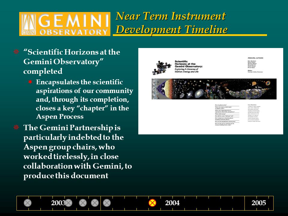 Near Term Instrument Development Timeline  Scientific Horizons at the Gemini Observatory completed  Encapsulates the scientific aspirations of our community and, through its completion, closes a key chapter in the Aspen Process  The Gemini Partnership is particularly indebted to the Aspen group chairs, who worked tirelessly, in close collaboration with Gemini, to produce this document 200420032005