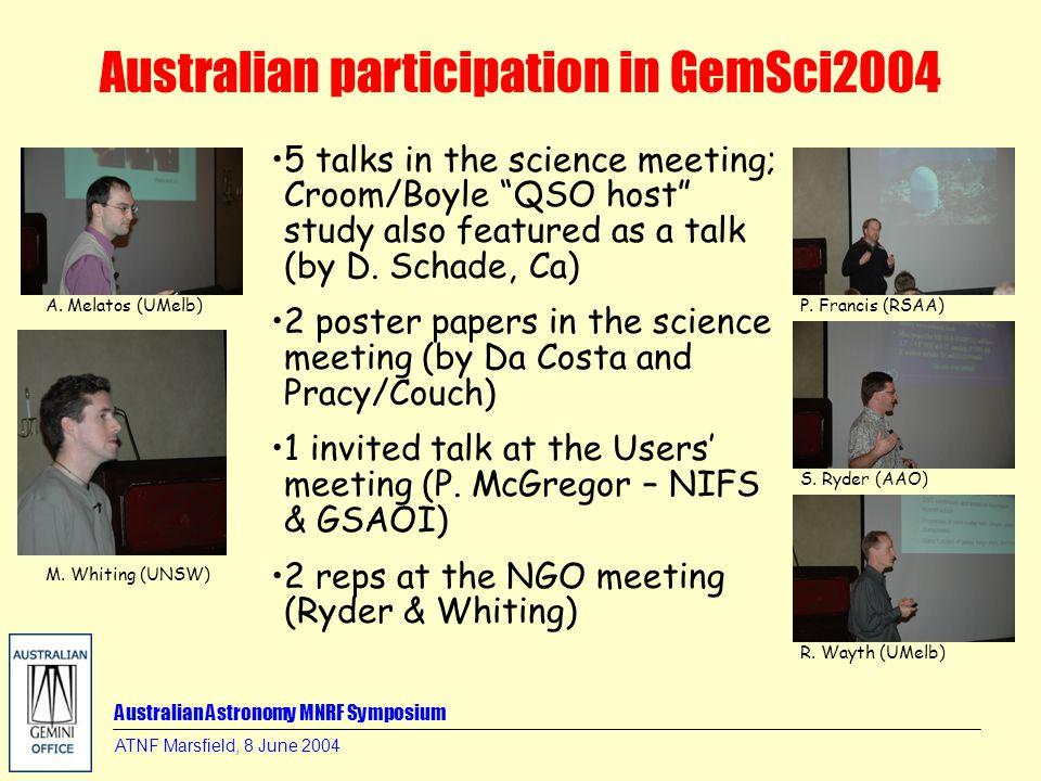 Australian Astronomy MNRF Symposium ATNF Marsfield, 8 June 2004 Australian participation in GemSci2004 A. Melatos (UMelb) M. Whiting (UNSW) P. Francis