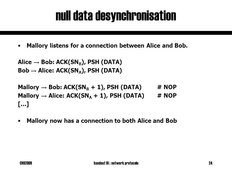 CNS2009handout 16 :: network protocols24 null data desynchronisation Mallory listens for a connection between Alice and Bob. Alice → Bob: ACK(SN B ),