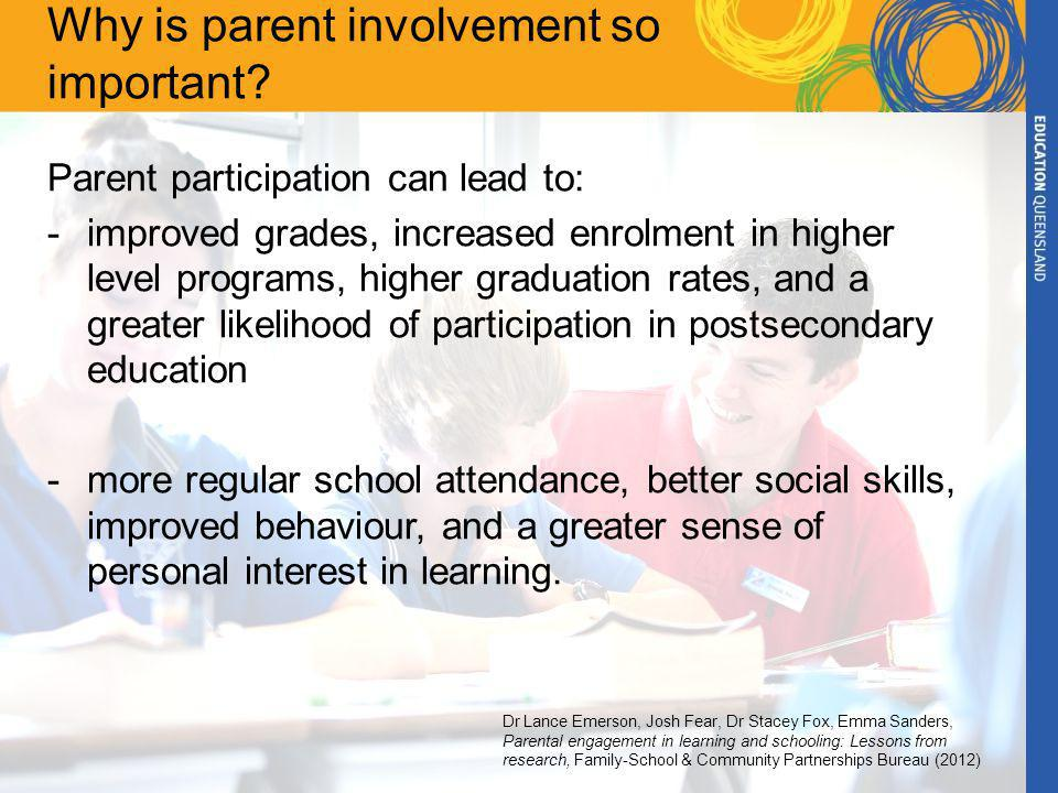 Why is parent involvement so important.