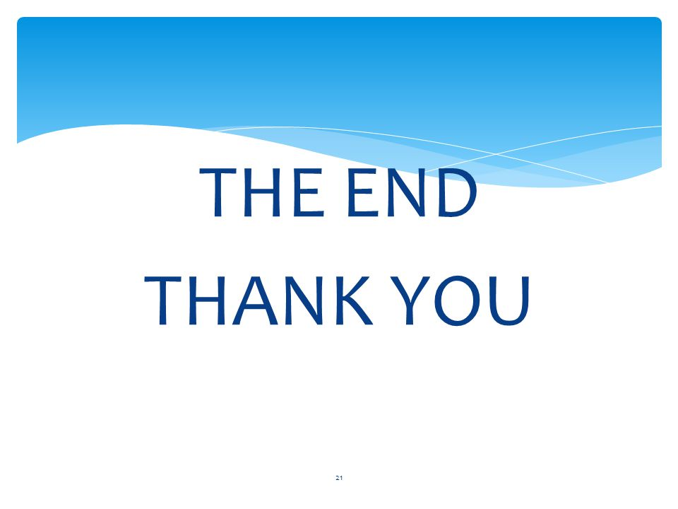 THE END THANK YOU 21