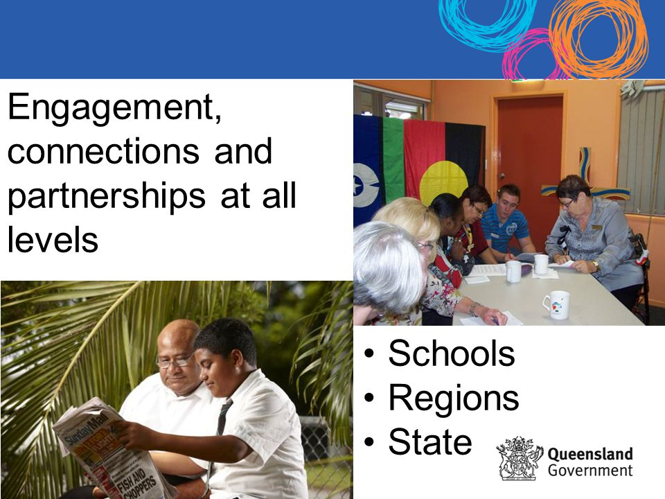 Engagement, connections and partnerships at all levels Schools Regions State