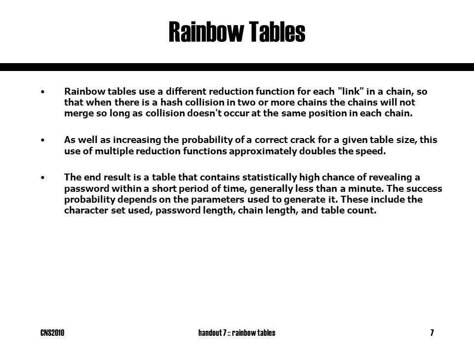 CNS2010handout 7 :: rainbow tables8 Rainbow Tables 1.We want to reverse the hash re3xes 2.We apply reduction function R3 and get rambo ..