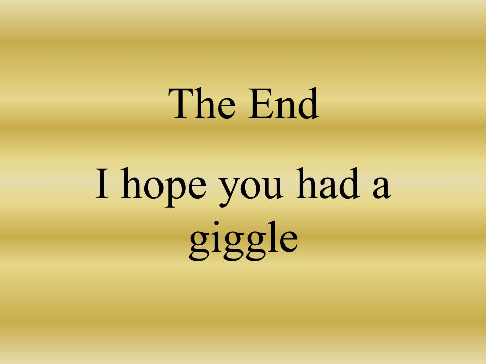 The End I hope you had a giggle