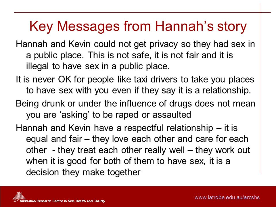 www.latrobe.edu.au/arcshs Key Messages from Hannah's story Hannah and Kevin could not get privacy so they had sex in a public place.
