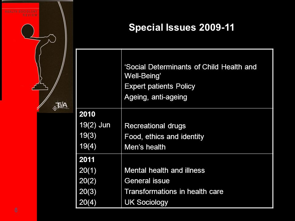 6 Special Issues 2009-11 201221(1)2012 Climate change and human health, Guest Editors, Hans Baer and Evan Willis21(2)General Issue21(3)Life Sissue22(4)G 'Social Determinants of Child Health and Well-Being' Expert patients Policy Ageing, anti-ageing 2010 19(2) Jun 19(3) 19(4) y Recreational drugs Food, ethics and identity Men's health 2011 20(1) 20(2) 20(3) 20(4) Mental health and illness General issue Transformations in health care UK Sociology