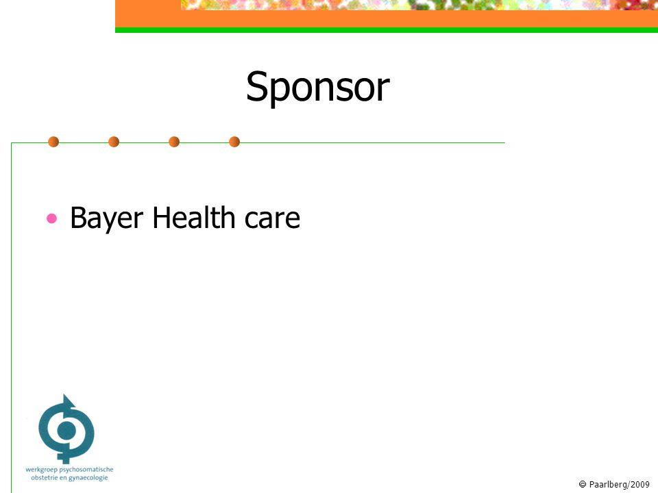  Paarlberg/2009 Sponsor Bayer Health care