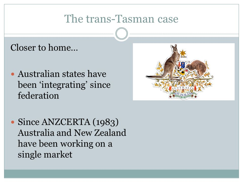 The trans-Tasman case