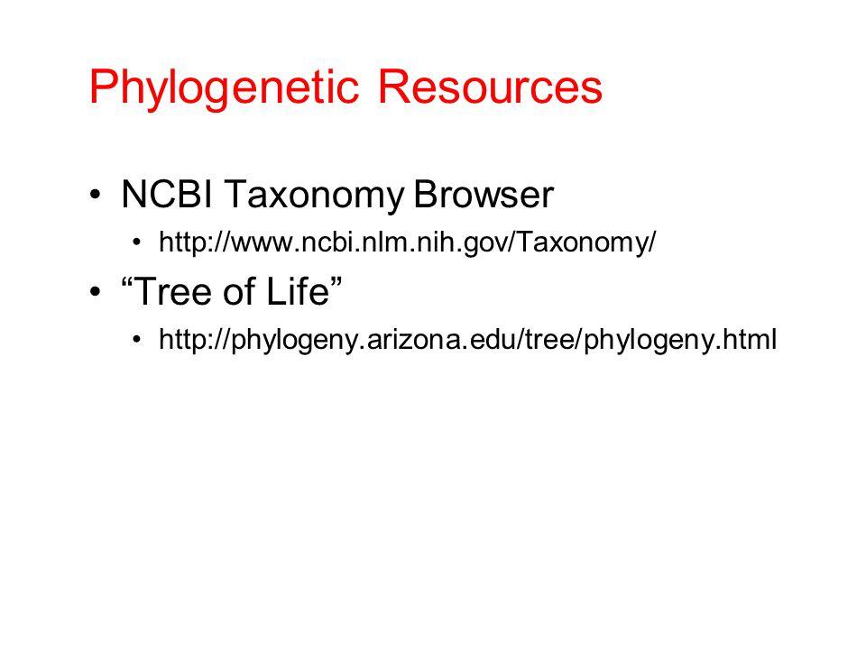 Phylogenetic Resources NCBI Taxonomy Browser http://www.ncbi.nlm.nih.gov/Taxonomy/ Tree of Life http://phylogeny.arizona.edu/tree/phylogeny.html