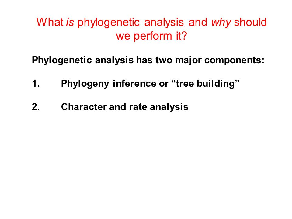 "What is phylogenetic analysis and why should we perform it? Phylogenetic analysis has two major components: 1.Phylogeny inference or ""tree building"" 2"