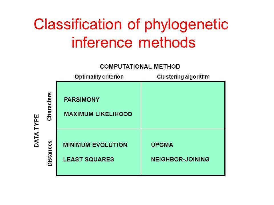 COMPUTATIONAL METHOD Clustering algorithmOptimality criterion DATA TYPE Characters Distances PARSIMONY MAXIMUM LIKELIHOOD UPGMA NEIGHBOR-JOINING MINIMUM EVOLUTION LEAST SQUARES Classification of phylogenetic inference methods