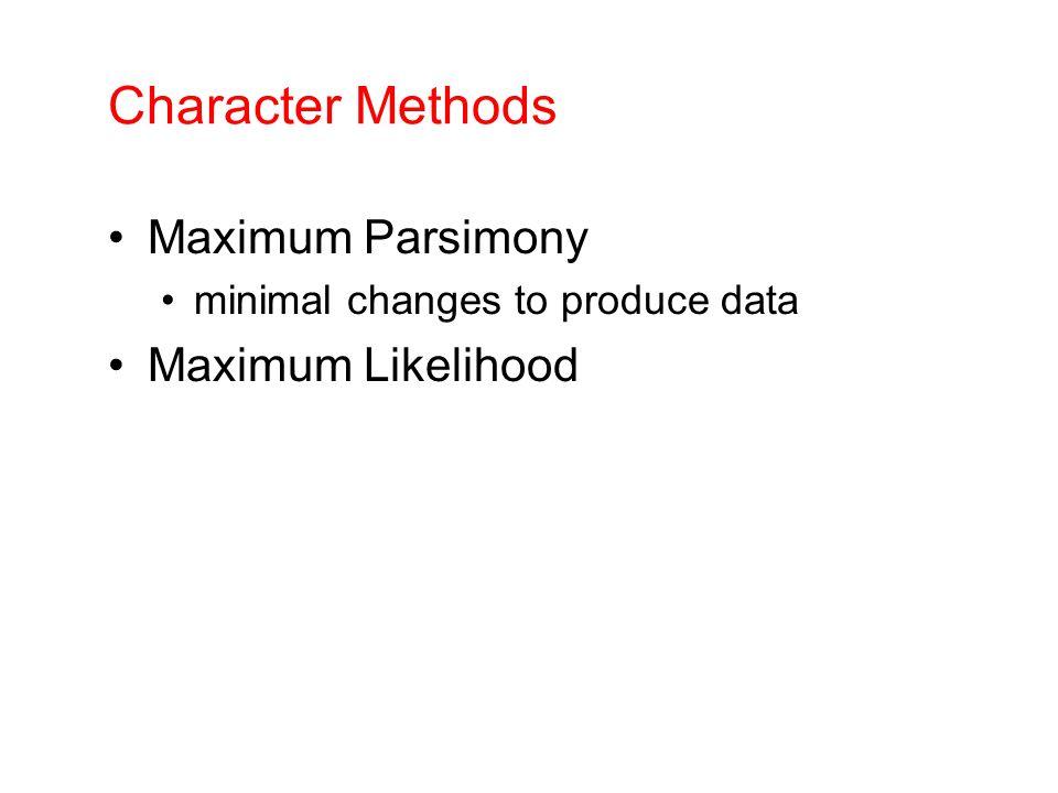 Character Methods Maximum Parsimony minimal changes to produce data Maximum Likelihood