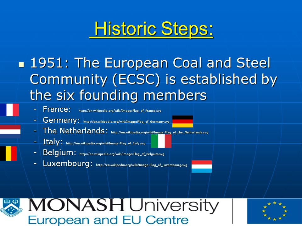 Historic Steps: Historic Steps: 1951: The European Coal and Steel Community (ECSC) is established by the six founding members 1951: The European Coal and Steel Community (ECSC) is established by the six founding members -France:   -Germany:   -The Netherlands:   -Italy:   -Belgium:   -Luxembourg: