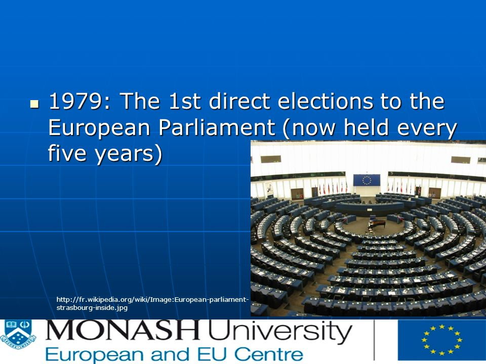 1979: The 1st direct elections to the European Parliament (now held every five years) 1979: The 1st direct elections to the European Parliament (now held every five years)   strasbourg-inside.jpg