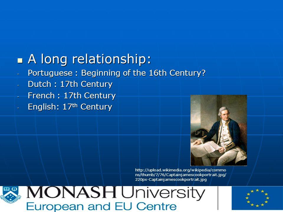 A long relationship: A long relationship: - Portuguese : Beginning of the 16th Century? - Dutch : 17th Century - French : 17th Century - English: 17 t