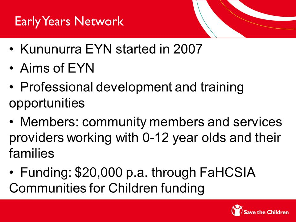 Early Years Network Kununurra EYN started in 2007 Aims of EYN Professional development and training opportunities Members: community members and services providers working with 0-12 year olds and their families Funding: $20,000 p.a.